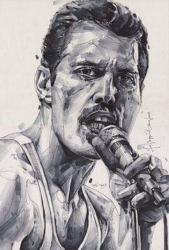 Freddie Mercury (Queen) Zeichnung von Jos Hoppenbrouwers