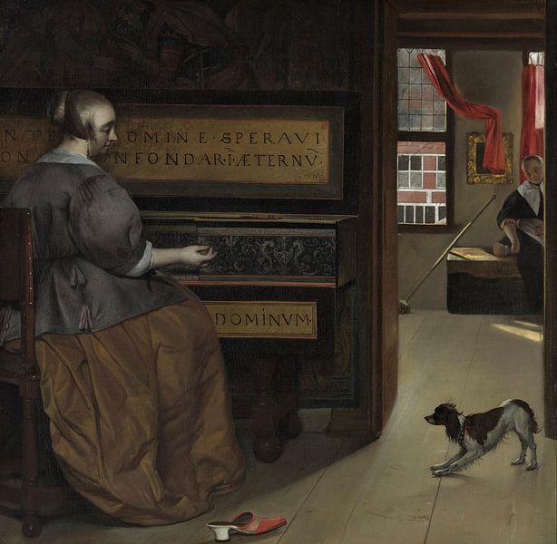 Gabriël Metsu - Dame bij een virginaal van 1000 Schilderijen