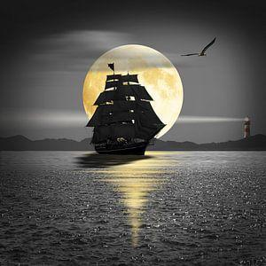 Een schip met zwarte zeilen