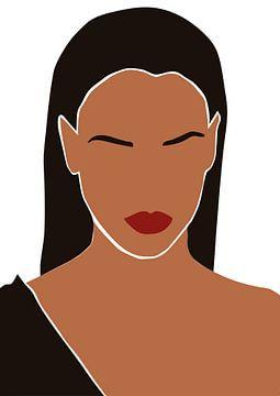 Vrouw met lange zwarte haren en rode lippen van Eline Willekens