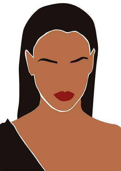 Frau mit langen schwarzen Haaren und roten Lippen. von Eline Willekens
