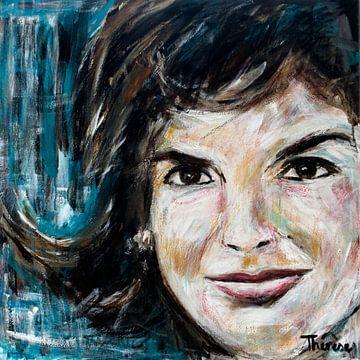 Porträtgemälde von Jackie Kennedy. von Therese Brals
