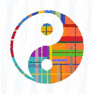 Yin en yang, kleurrijke van