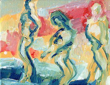 Figurants en rouge sur Eva van den Hamsvoort