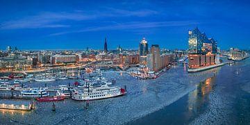 Winter nacht skyline van Hamburg van Michael Abid