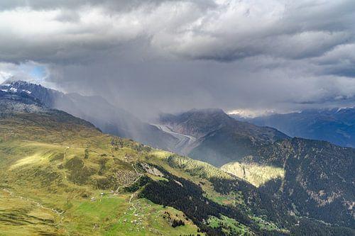 Uitzicht op de Aletschgletsjer in Zwitserland