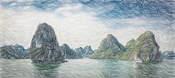 Panorama Halong Bay, Vietnam, tekening van Rietje Bulthuis