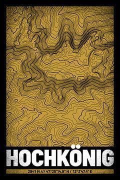 Hochkönig | Landkarte Topografie (Grunge) von ViaMapia