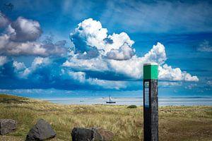 De zeestraat tussen Texel en Vlieland van