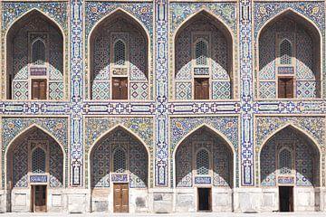 Kleurrijke mozaïeken Registan plein (Oezbekistan) van Marien Bergsma