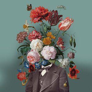 Zelfportret met bloemen 3 (groengrijze achtergrond)