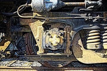 Wiel van oud treinstel van