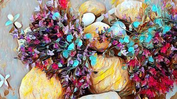 Rotstuin met kleurrijke bloemen van Patricia Piotrak