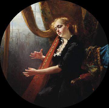 Girl Playing the Harp van Antonije Lazovic
