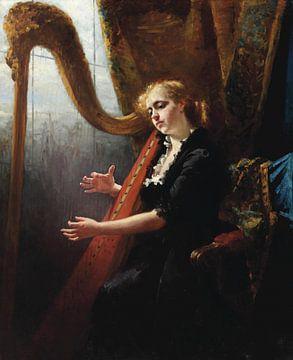 Mädchen spielt die Harfe von Antonije Lazovic