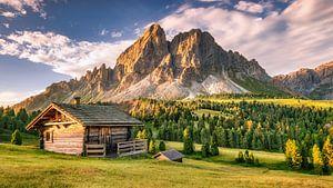Alpenhut op een alpenweide in de Alpen / Dolomieten in Italië van Voss Fine Art Fotografie