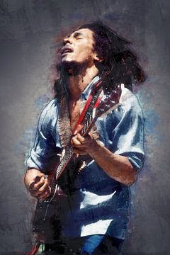 Bob Marley olieverf portret van Bert Hooijer