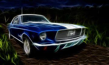 Ford Mustang uit 1962 digitaal als licht of energie omgevormd van Natasja Tollenaar