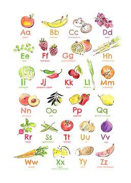 Alfabetposter fruit en groente van