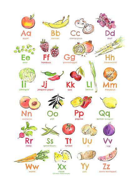 Alfabetposter fruit en groente van Karin van der Vegt