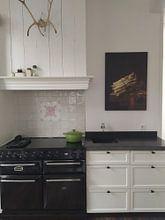 Klantfoto: Stilleven met bundel asperges en takje met rode aalbessen - Adriaen Coorte, op canvas