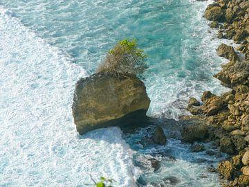 De woeste zee bij de rotsen van Uluwatu von Petra Brouwer