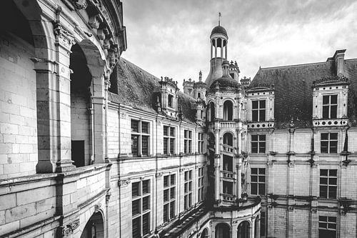 Château de Chambord in zwart-wit
