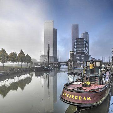 Rotterdam in de mist van Frans Blok