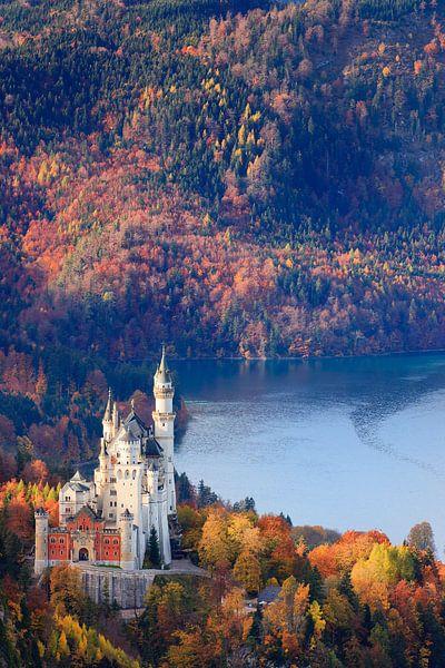 Herfst bij het kasteel Neuschwanstein van Henk Meijer Photography