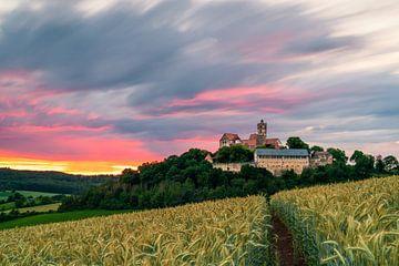 Lange blootstelling bij zonsondergang op kasteel Ronneburg van Christian Klös
