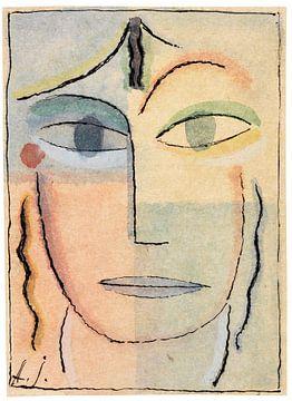 Vrouwelijk hoofd, Alexej von Jawlensky, 1920-1923 van Atelier Liesjes