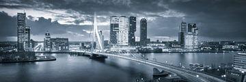 Skyline Rotterdam Erasmusbrug - Metallic Grey van Vincent Fennis