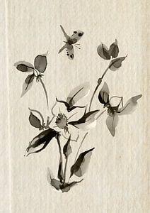 Lentebloemen met vlinder van Lucia