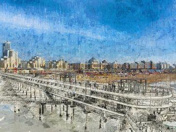 Scheveningen Pier und Boulevard skizziert und gemalt von Arjen Roos