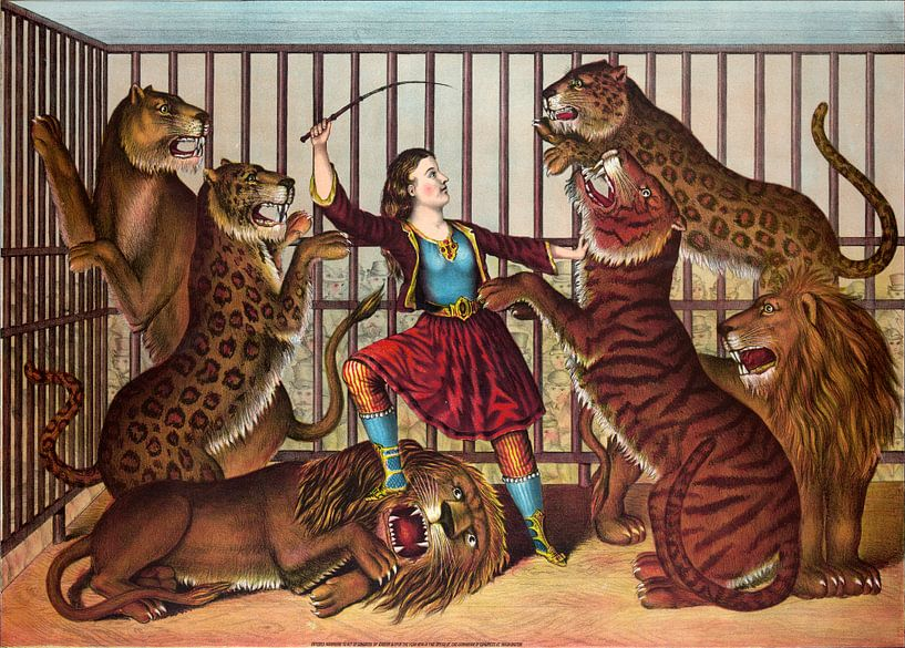 Poster van de leeuwenkoningin uit 1874 van Atelier Liesjes