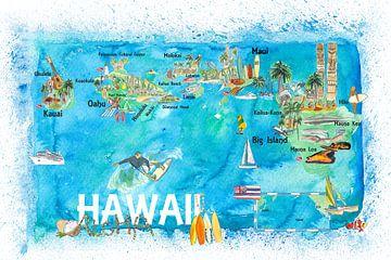 Hawaii USA Geïllustreerde kaart met bezienswaardigheden en hoogtepunten van Markus Bleichner