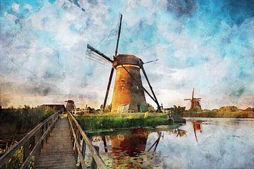 Aquarel molens Kinderdijk