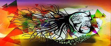 Femme Fatale, vrouw bestaand uit vogels en takken van MirEll digital art