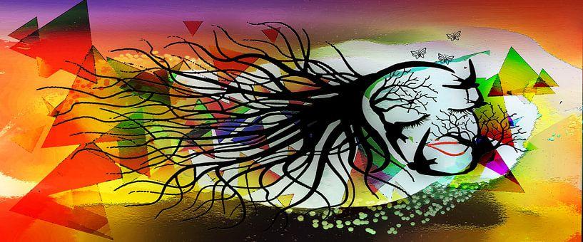 Femme Fatale, Frau bestehend aus Vögeln und Zweigen. von MirEll digital art