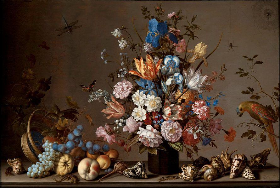 Balthasar van der Ast, Stilleven met mand met fruis, een vaas met bloemen en schelpen van Meesterlijcke Meesters