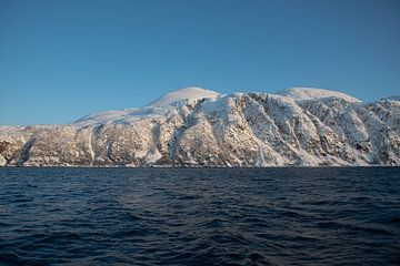 Besneeuwde bergtop in de Fjorden van Noorwegen van Merijn Loch