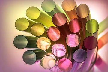 gekleurde rietjes van Marian van der Kallen Fotografie