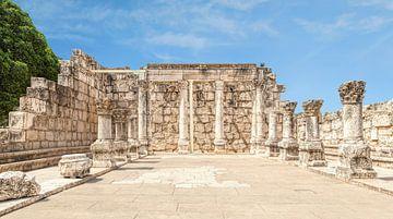 De  4e-eeuwse Witte Synagoge, Kafarnaüm, Israël, Midden-Oosten van Mieneke Andeweg-van Rijn