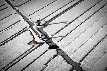 Luchtfoto van molen in polder in de sneeuw van Frans Lemmens