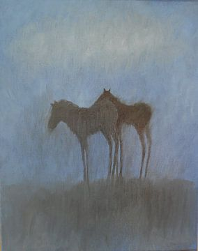 Veulens onder een wolk. von Sabine Trines