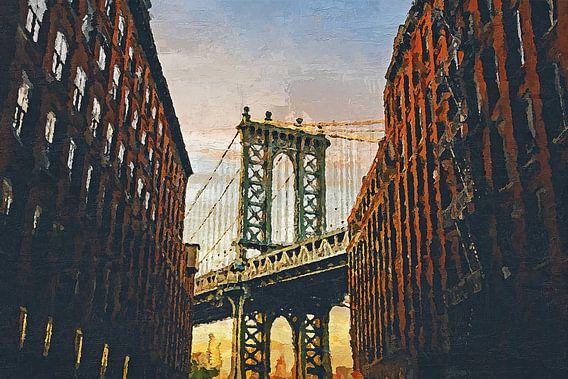 Geschilderde Manhattan Bridge van Arjen Roos