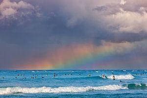 A rainbow at Waikiki Beach, Hawaii