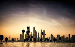 Hot air balloons over Dubai