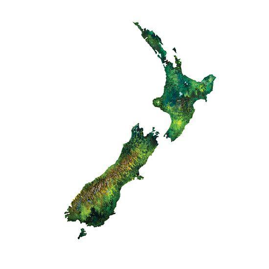 Nieuw Zeeland | Landkaart in Aquarel