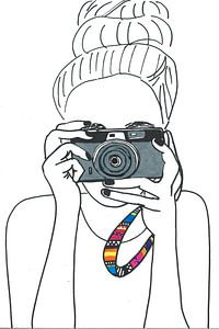 Illustration photographer black-white